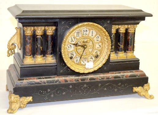 """Ingraham """"Columbus Variant"""" Wood Mantel Clock"""