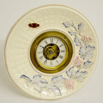 French Avalon Baby Faience Plate Clock