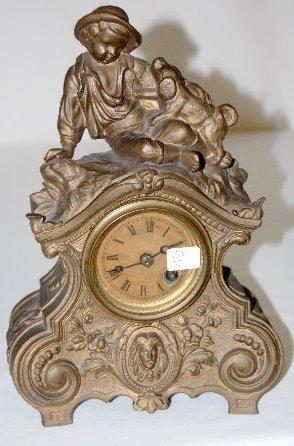 Antique White Metal Clock w/Boy & Dog