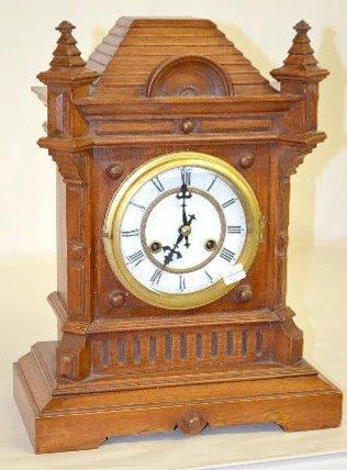 Antique Wood Cabinet Mantel Clock