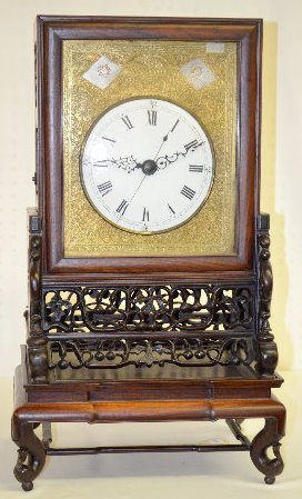 Antique Chinese Double Fusee Clock and Shelf