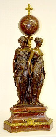 "Barbedienne Bronze & Marble 3 Graces Clock, 41"" T"