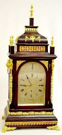 """Rare! 8 Bell Musical Bracket Clock w/6"""" Cylinder"""