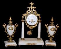 French 3 Piece Marble Clock Garniture Set