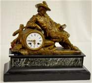 French Figural Mantel Clock, Cavalier Reading