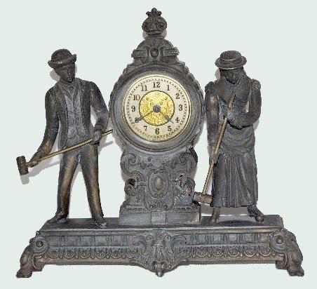 "Ansonia Double Statue Clock, ""Croquet"""