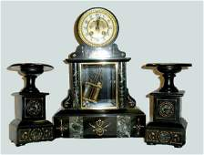 French SlateMarble 3 Piece Garniture Clock Set