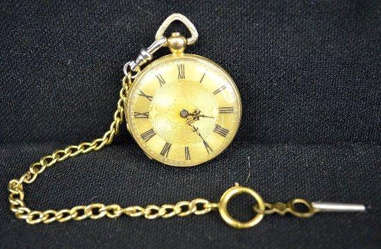 18K Stauffer De-Fonds 7 J KW/KS OF Pocket Watch