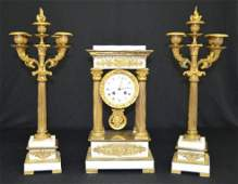 French Marble 3 Piece Empire Garniture Clock Set