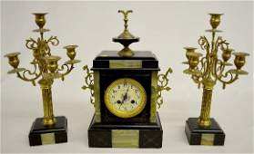 French Slate  Marble 3 Piece Garniture Clock Set