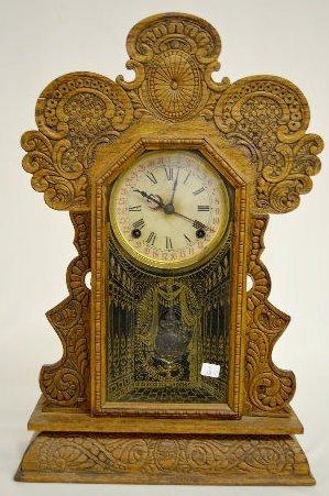 """Ingraham """"Gila"""" Oak Calendar Kitchen Clock"""