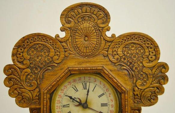 """Ingraham """"Gila"""" Oak Calendar Kitchen Clock - 2"""