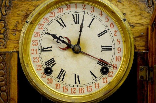 """Ingraham """"Gila"""" Oak Calendar Kitchen Clock - 3"""