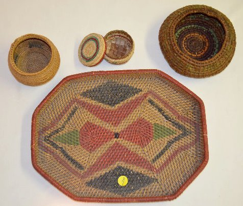 4 Small Native American Basketry Items