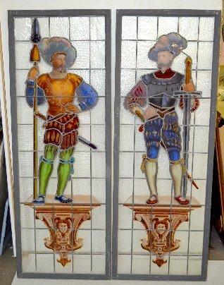 Pair Antique Leaded Glass Windows w/Cavaliers