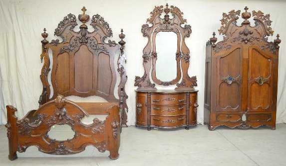 3 Pc. Large Ornate Bedroom Set, Fruit Carved, 9