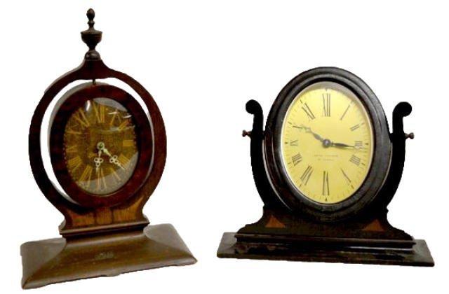 2 Wooden Easel Dresser Clocks, Seth Thomas +