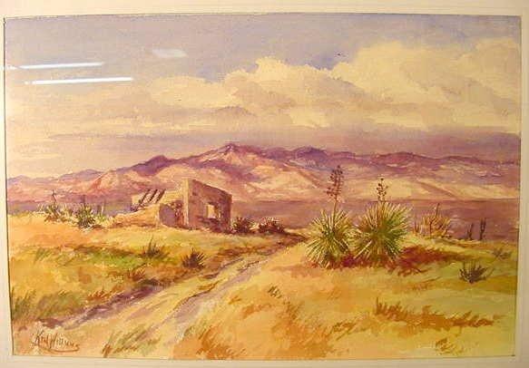 "1004: Williams watercolor ""Near Taos"""