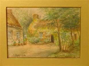 Kacy British watercolor Lavelte Cottage