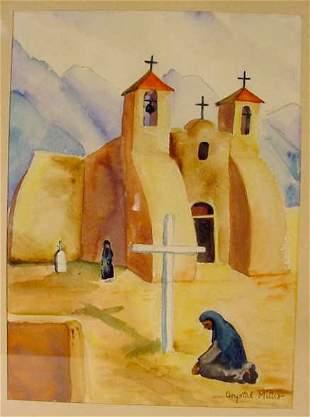 Miller watercolor Church at Taos