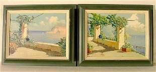 """A. Pasini """"Amalfi Coast"""" pair of oils"""