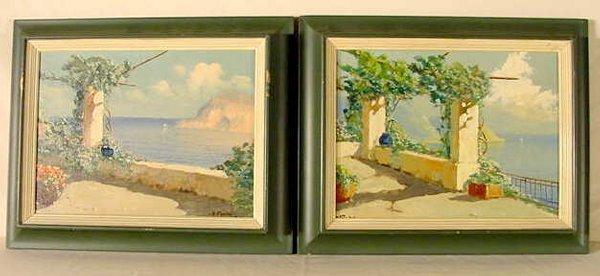 """1010: A. Pasini """"Amalfi Coast"""" pair of oils"""