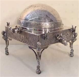 Silver plate swivel dome butter dish