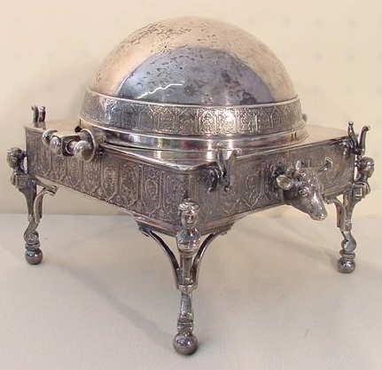 1017: Silver plate swivel dome butter dish