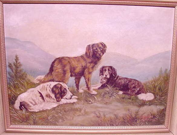 1084: Deiker & Schaer Oil Painting of 3 Dogs