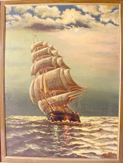 1142: J. Glotzer Ship Oil Painting
