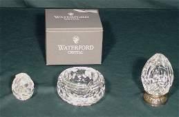 1000 3 Pc Waterford Crystal 2 Eggs  Ashtray NR