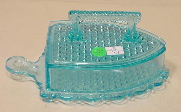 1002A: Clear Blue Flat Iron Covered Dish, Fine Cut NR