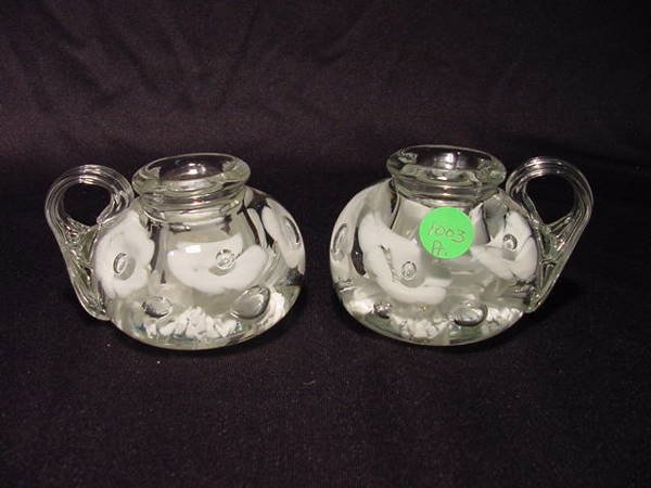1003: Pr St. Clair Handled Paperweights Candleholders