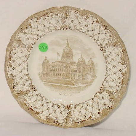 1008: Ridgway Iowa Capitol Plate Transferware NR