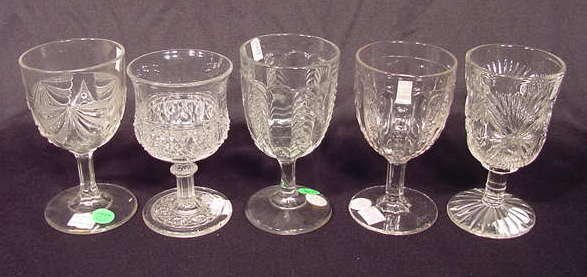 1009A: 5 Clear Pattern Goblets: Paneled, Mikado NR