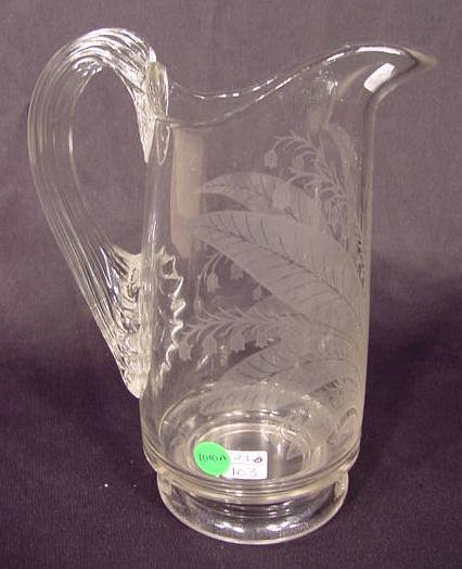1010A: Clear Etched Lily of the Valley Water Pitcher NR