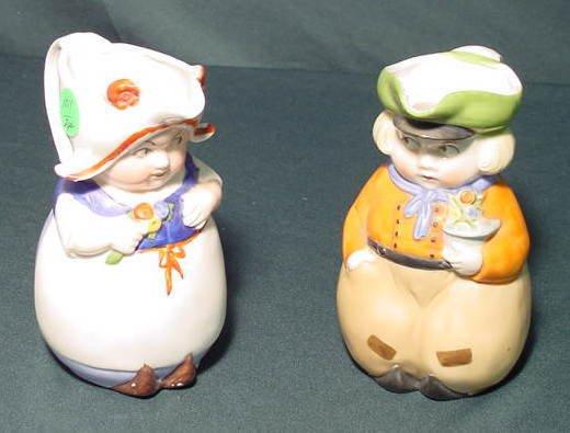 1011: 2 Dutch Kids Figural Creamers, 1 Marked NR