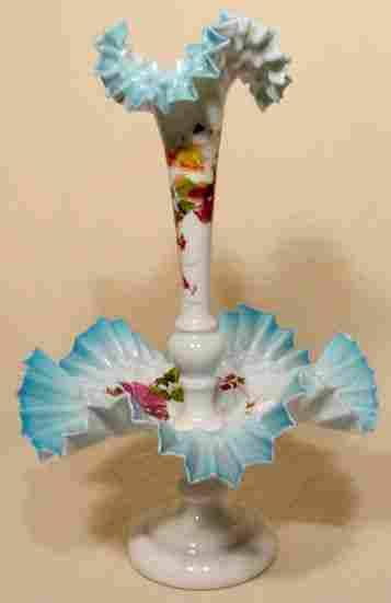 2pc Cased Bristol Glass Epergne w/ Floral Décor