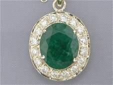 1093B 782 Ct Emerald  Diamond Pendent in 14K Gold NR