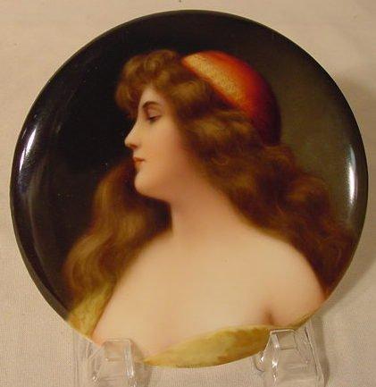 1111A: Artist Signed Porcelain Plaque Lady, Wagner NR