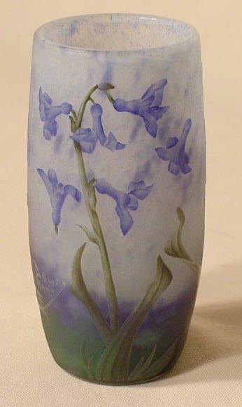 1117B: Daum Nancy Enamel Décor Floral Cameo Vase NR