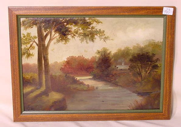 14: Early Primitive Oil on Board of River NR