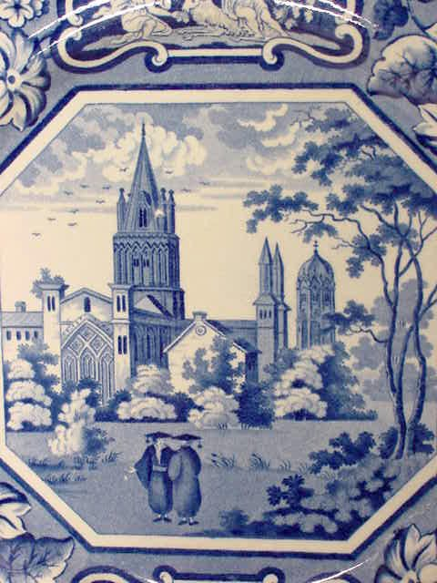 17: Early Ridgway Christ Church Blue Transfer Plate