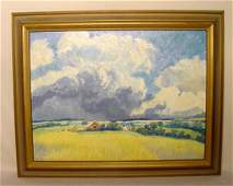 56 Pauline Shirer Country Scenic Oil on Board NR