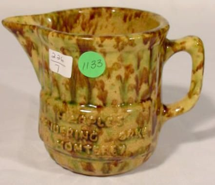 4: Green & Brown Spatter Ware Glazed Pottery NR
