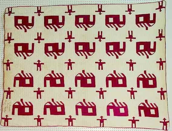 182A: Antique Schoolhouse Quilt Dated 1908 NR