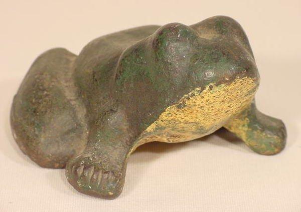 1003: Cast Iron Painted Frog Door Stop NR