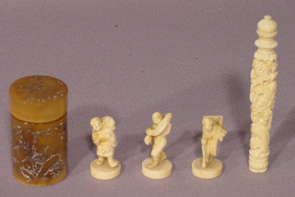 1005: 5pc Carved Ivory: 3 Figurines, Opium Container NR