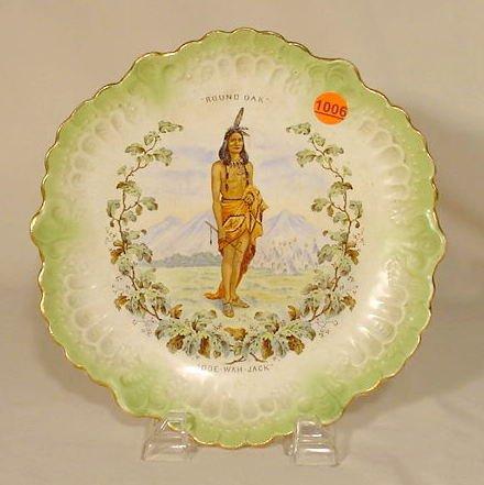 1006: Advertising Round Oak China Plate Doe-Wah-Jack NR