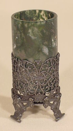1013: Carved Jade Vase in Filigree Silver Frame NR